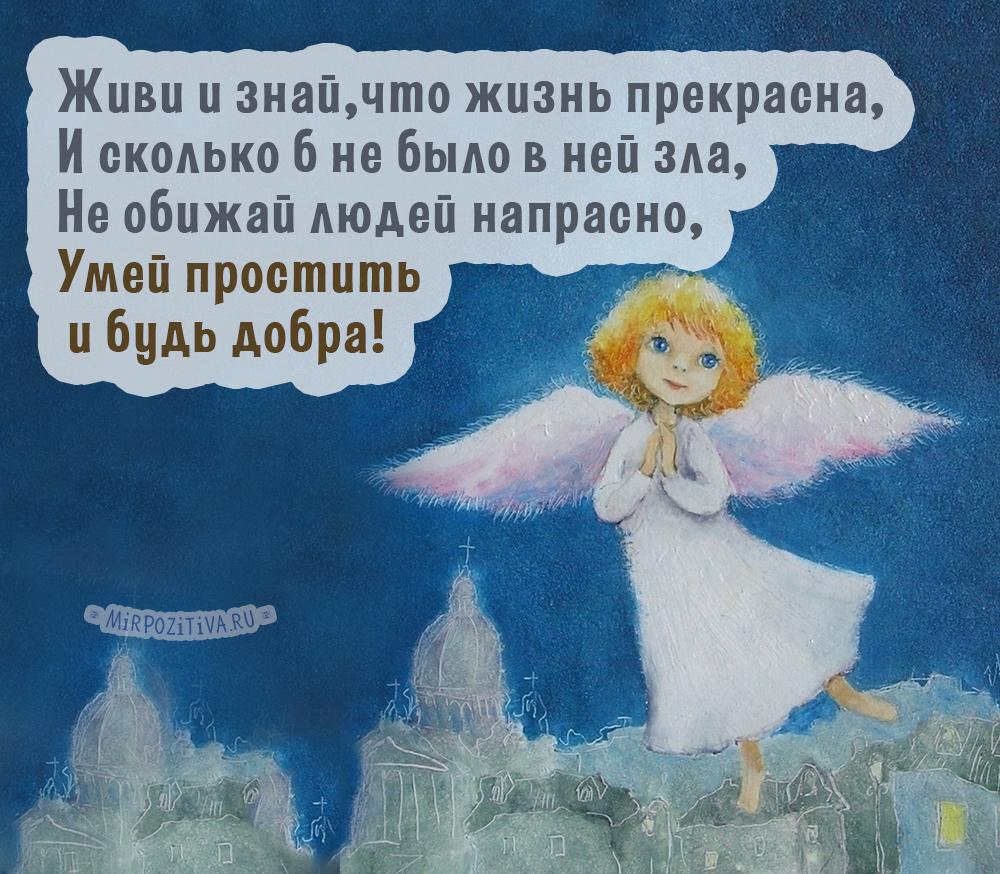 Живи и знай что жизнь прекрасна, И сколько б не было в ней зла, не обижай людей напрасно, Умей простить и будь добра!