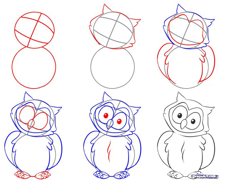 пример рисования совы