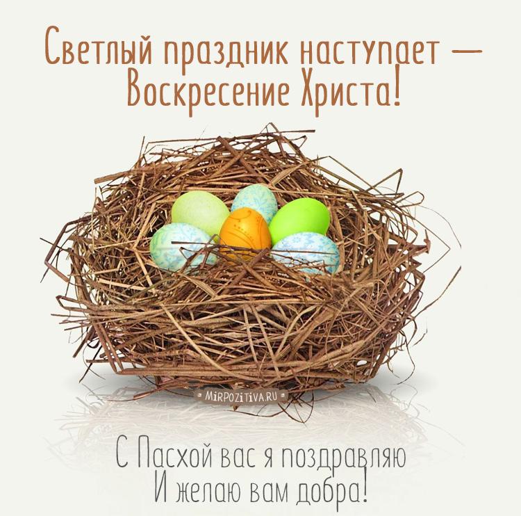 Светлый праздник наступает — Воскресение Христа! С Пасхой вас я поздравляю И желаю вам добра.