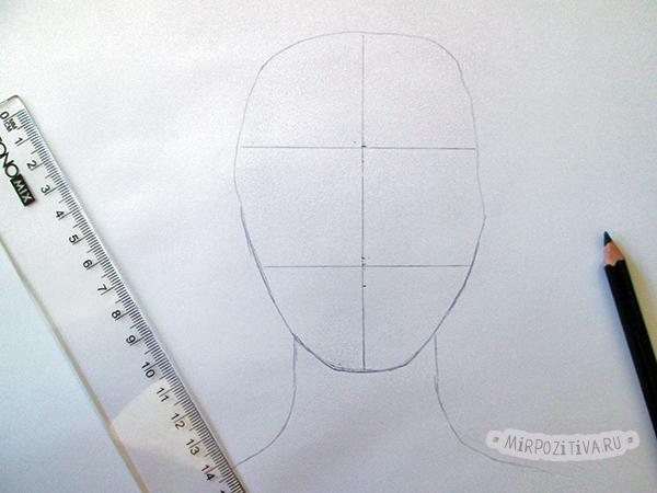 Делим лицо на три равные части