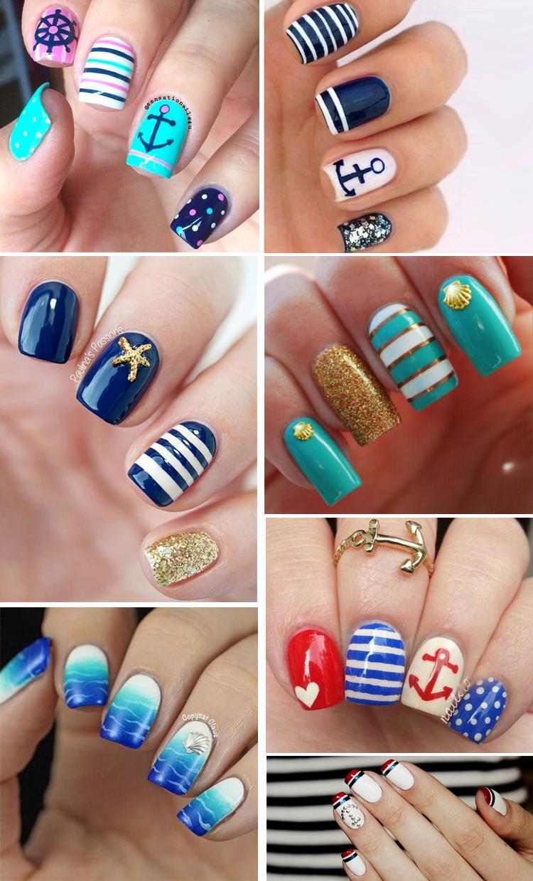 морской дизайн на ногтях