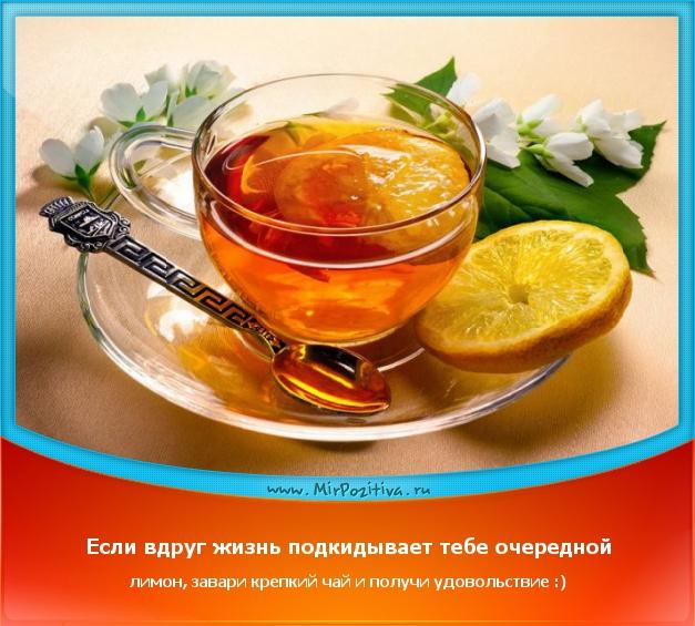 Если вдруг жизнь подкидывает тебе очередной лимон, завари крепкий чай и получи удовольствие