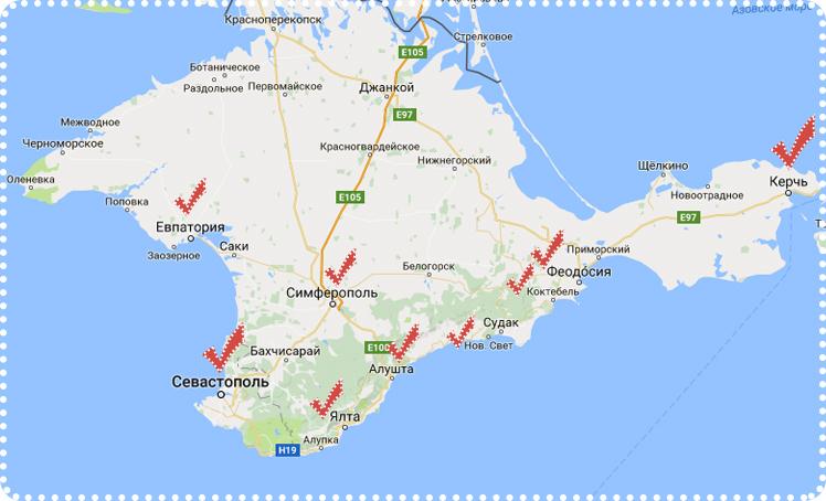 карта Крымского полуострова