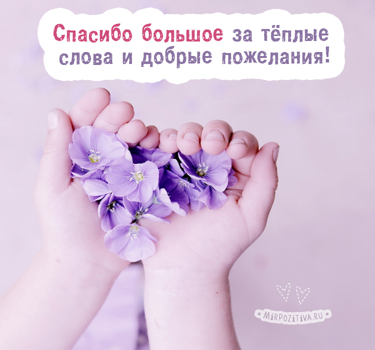 благодарность за теплые слова и добрые пожелания