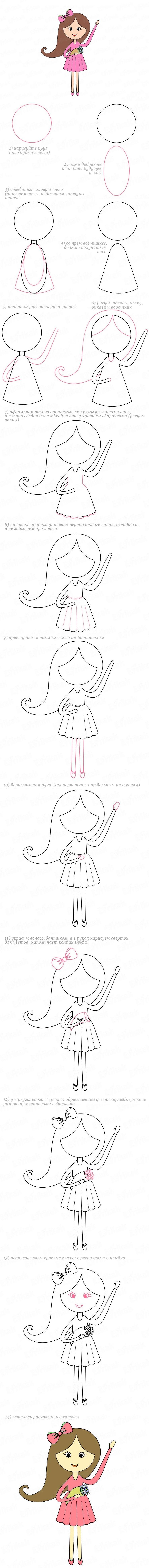 рисуем девочку пошагово
