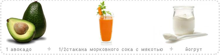 авокадо морковный сок йогурт