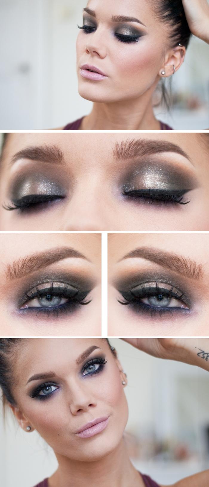 макияж для вечеринки, серые глаза