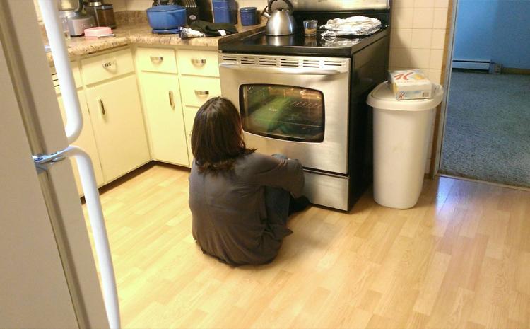 Мать семейства не может налюбоваться на новую духовку с большим прозрачным окошком