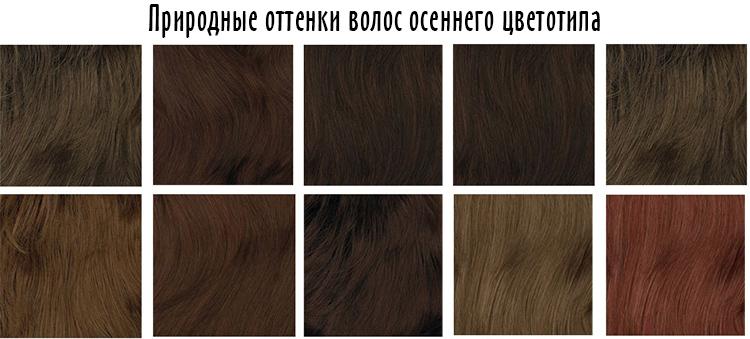 природные оттенки волос цветотипа осень