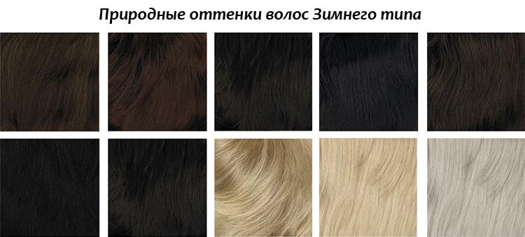 оттенок волос цветотипа зима