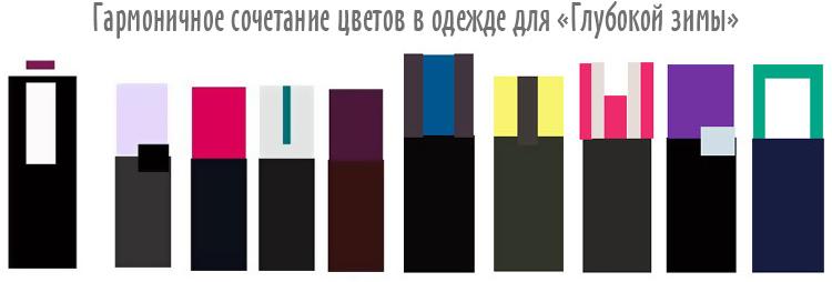 гармоничное сочетание цвета в одежде для цветотипа Зима