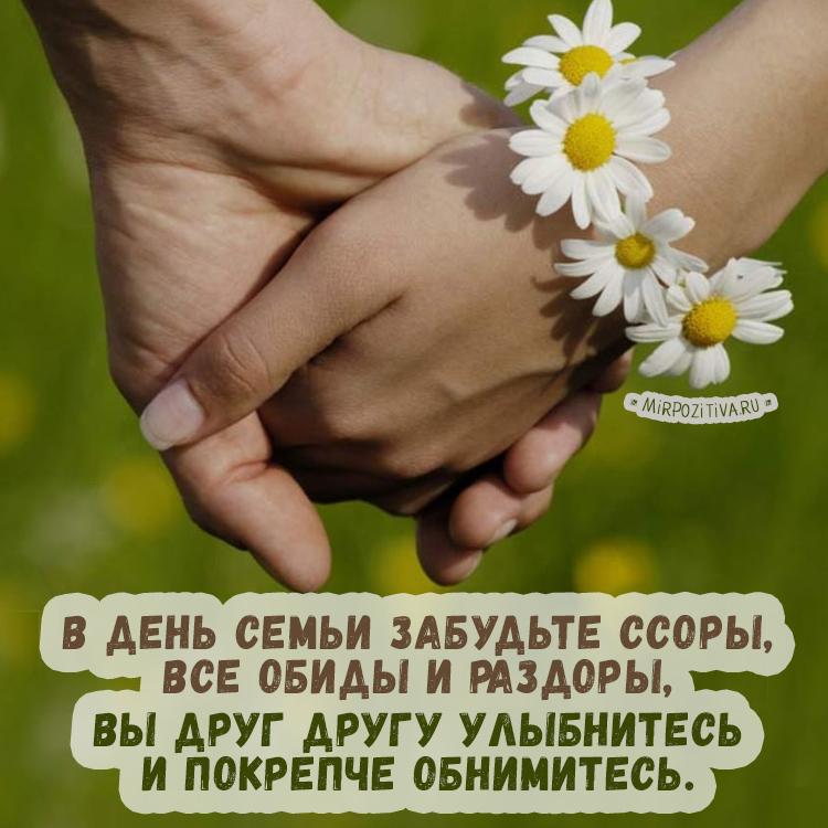 В день семьи забудьте ссоры, Все обиды и раздоры, Вы друг другу улыбнитесь и покрепче обнимитесь.