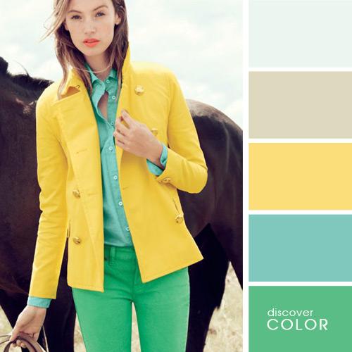 Сочетания цветов в одежде сочетание с желтым