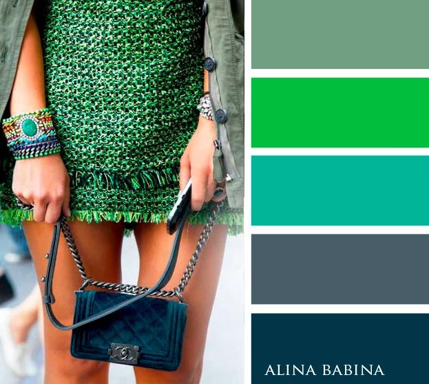 Сочетания цветов в одежде сочетание с зеленым