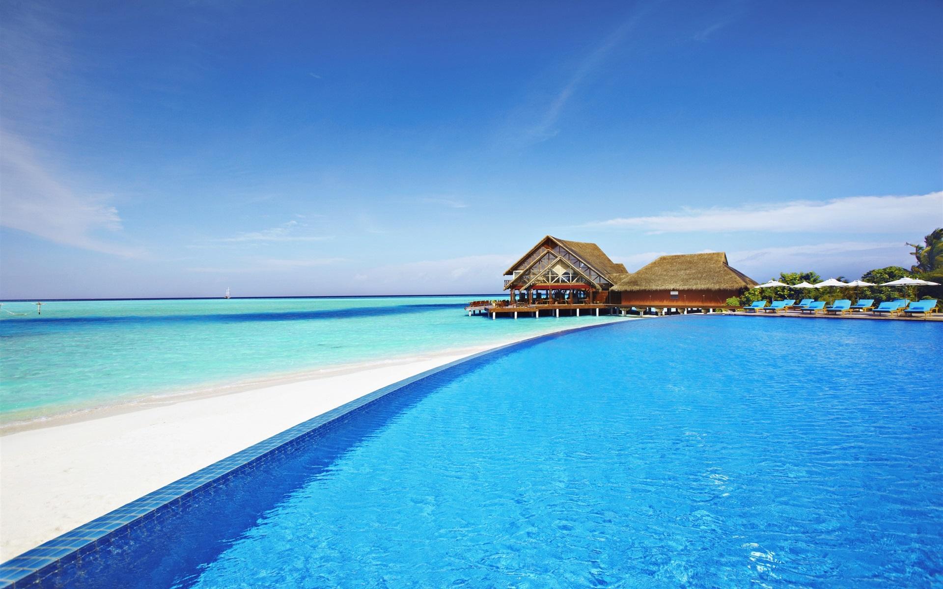 Мальдивы море домики