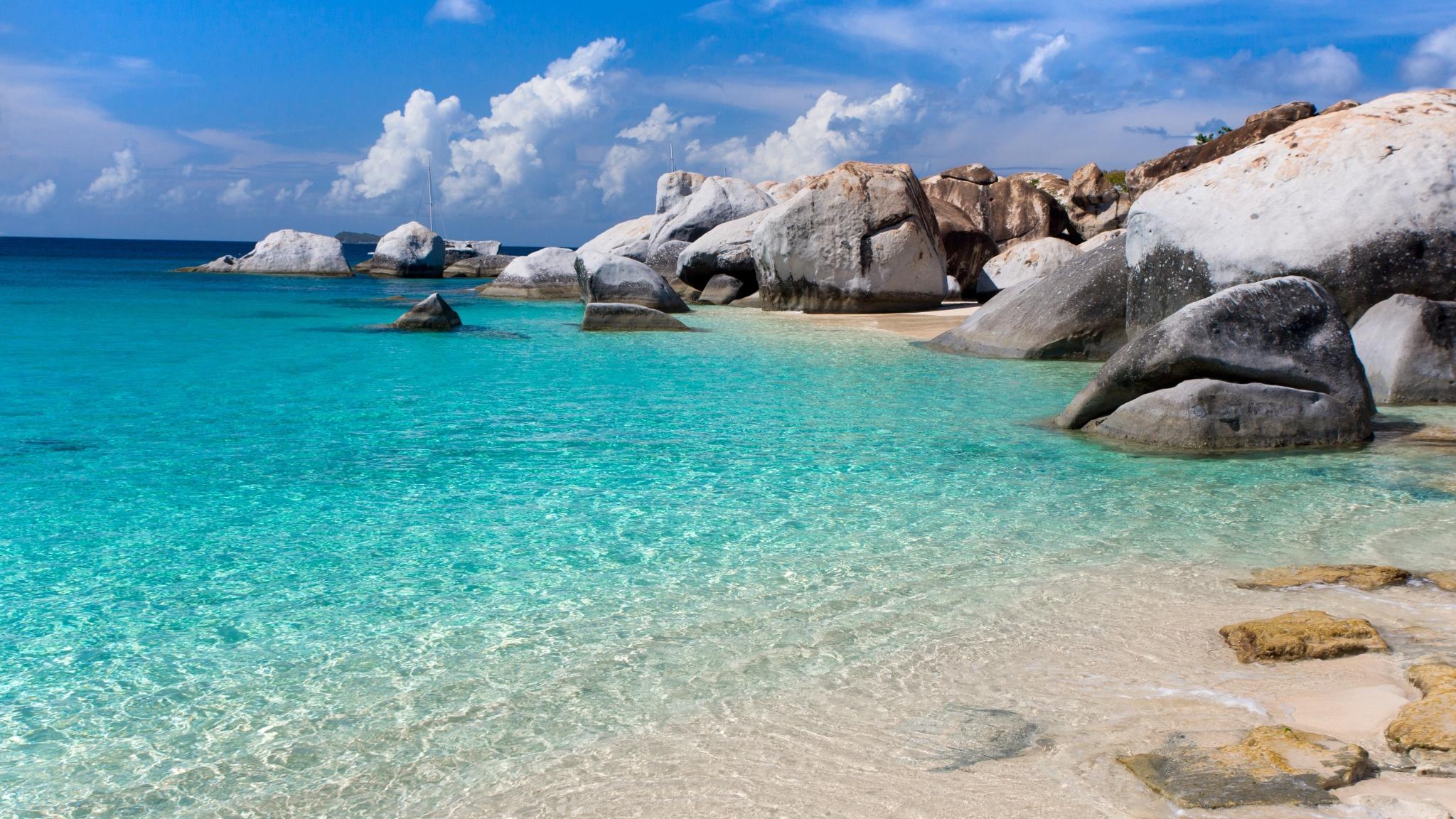 залив камни голубая вода