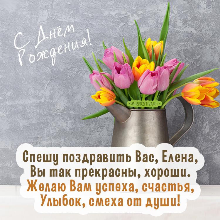 Спешу поздравить Вас, Елена, Вы так прекрасны, хороши. Желаю Вам успеха, счастья, Улыбок, смеха от души!