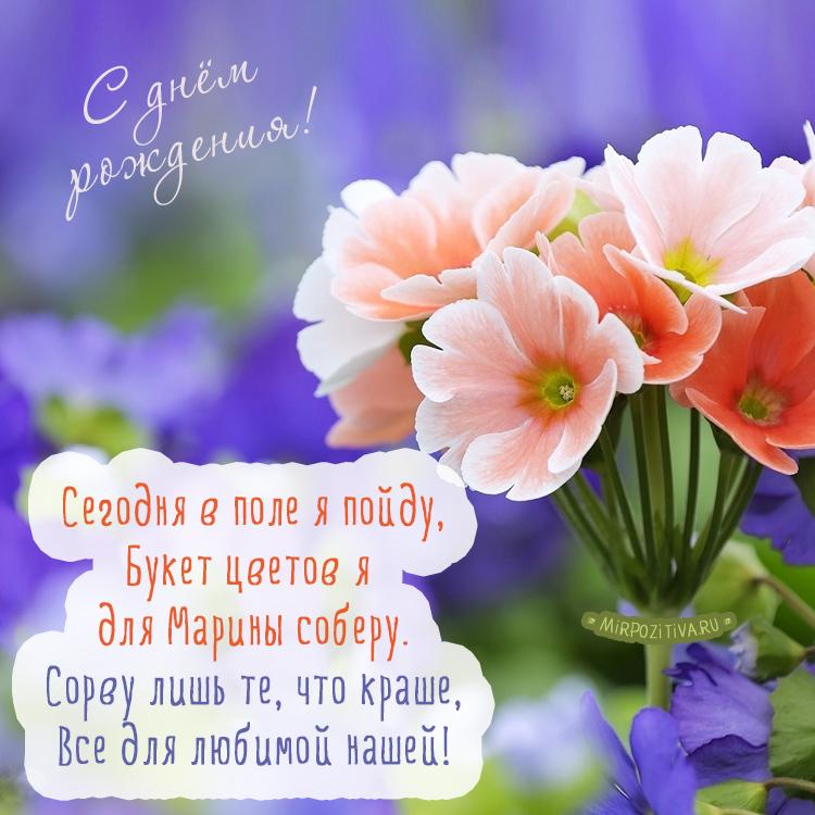 Сегодня в поле я пойду, Букет цветов я для Марины соберу.