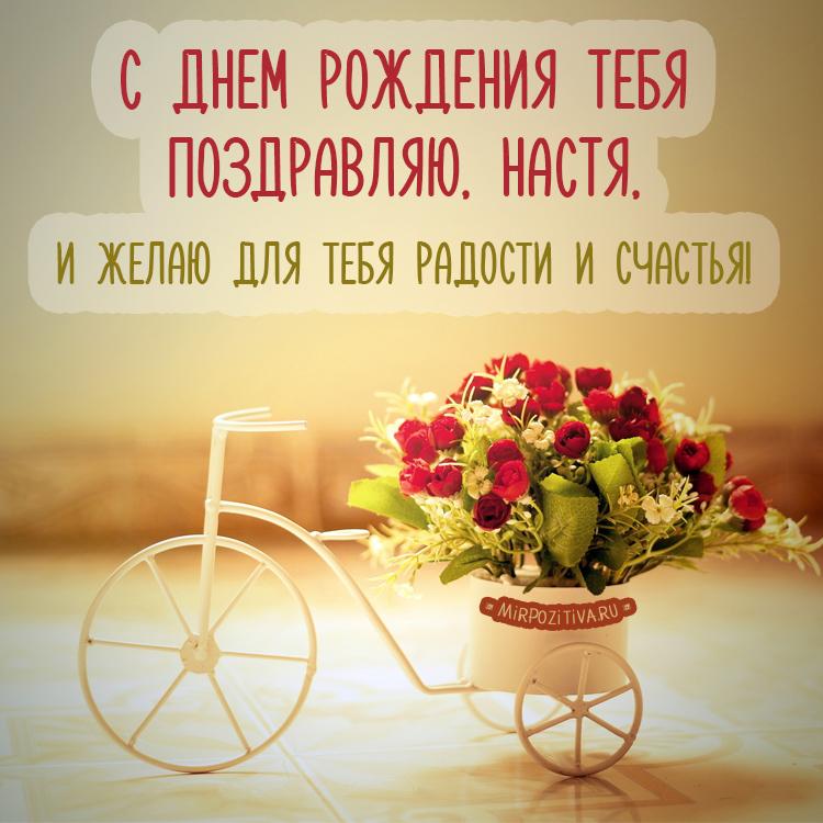 С днем рождения тебя Поздравляю, Настя, И желаю для тебя Радости и счастья.