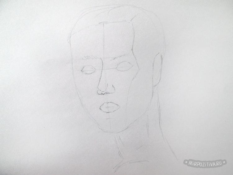 рисуем лицо намечаем глаза нос губы