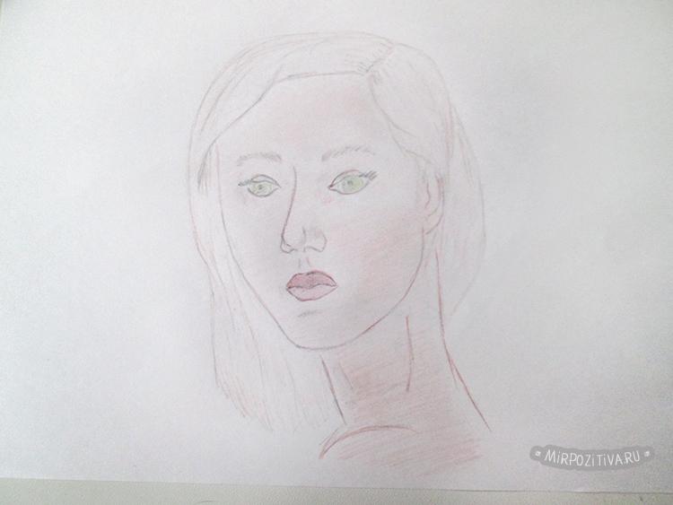 лицо цветными карандашами