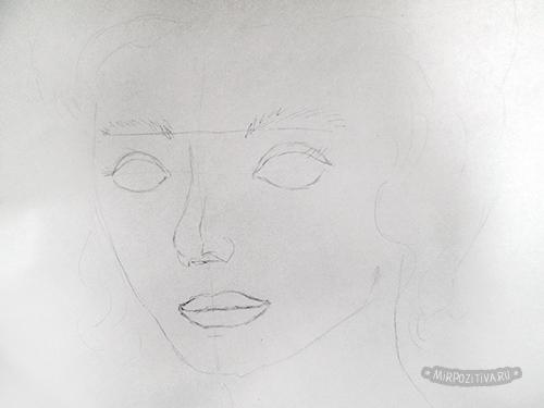 схематически глаза нос губы