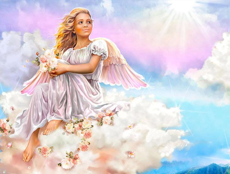девочка ангелочек на облаке