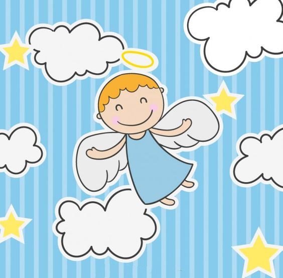 веселый ангелочек на облачках