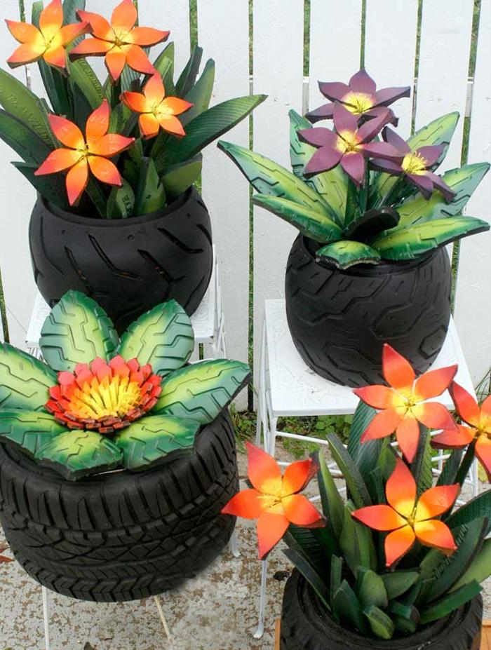цветы из шин