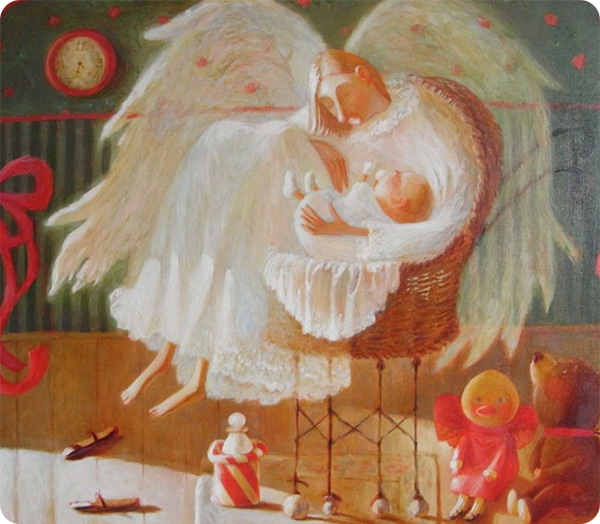 ангел-хранитель защищает ребенка во сне