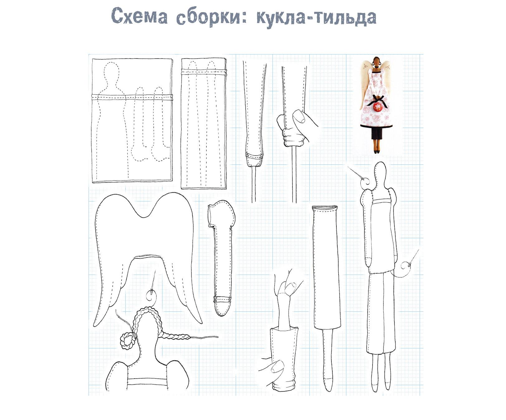 выкройка кукла тильда схема сборки