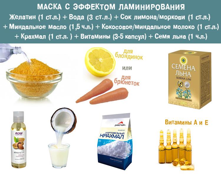 маска эффект ламинирования рецепт