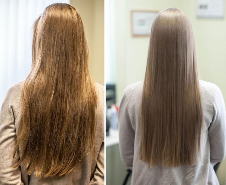 фото волос до и после желатиновой маски