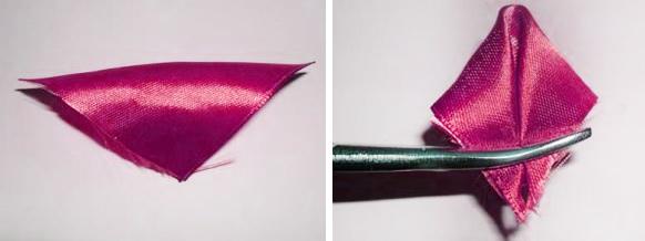 Как сделать из ленточки цветочек пошагово