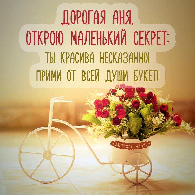 красивые розы на велосипеде для Ани