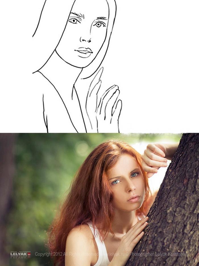 девушка выглядывает из-за дерева