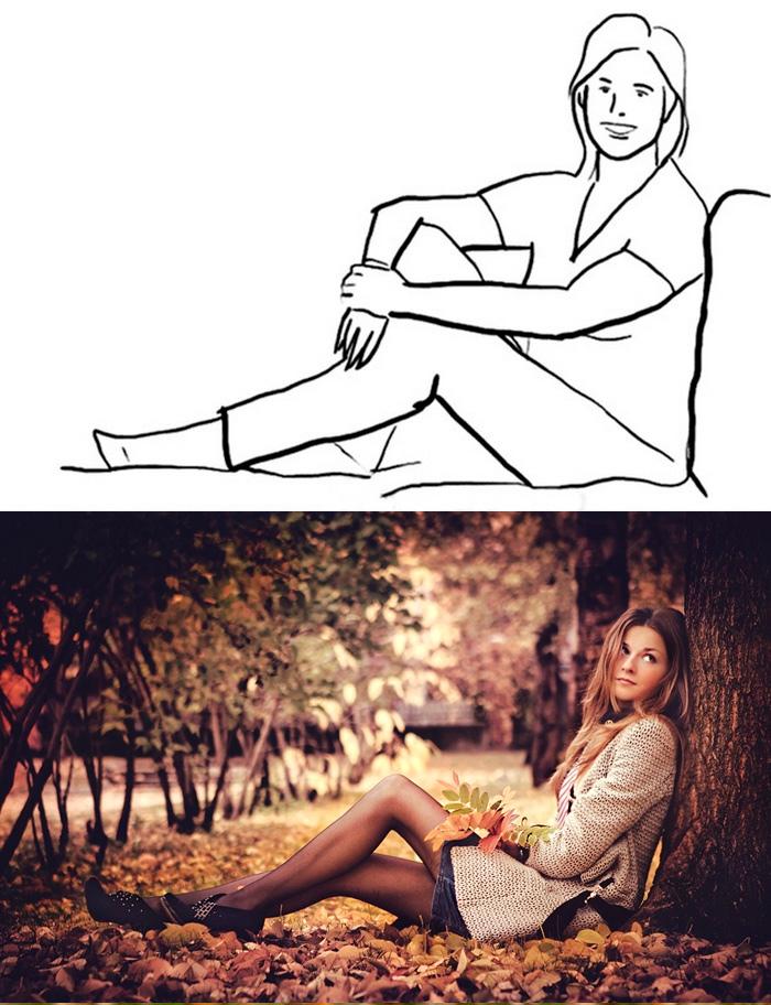 девушка сидит у дерева