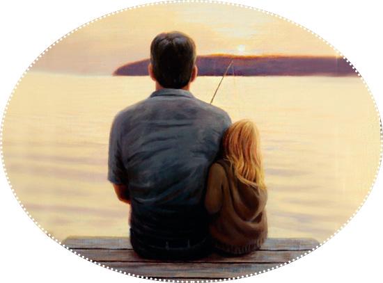 папа и дочка рыбачат