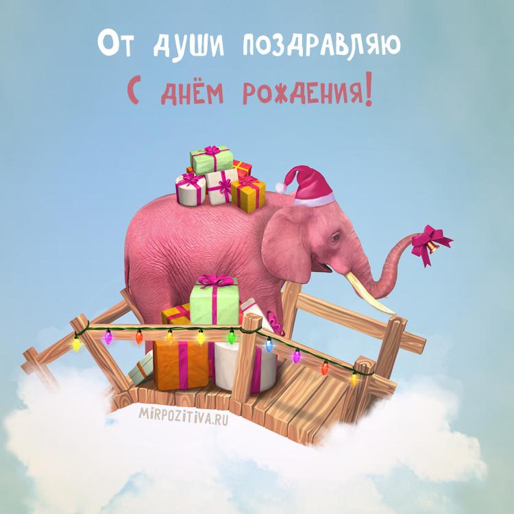 розовый слоник поздравляет
