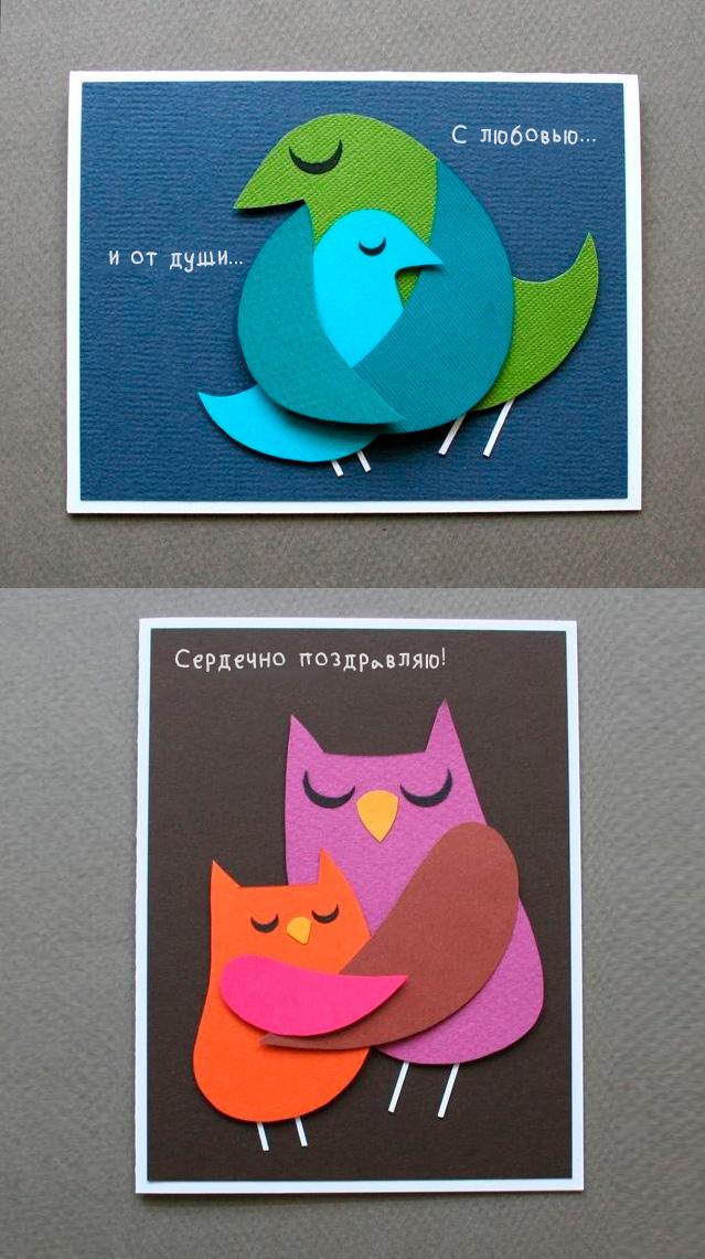 открытка птички