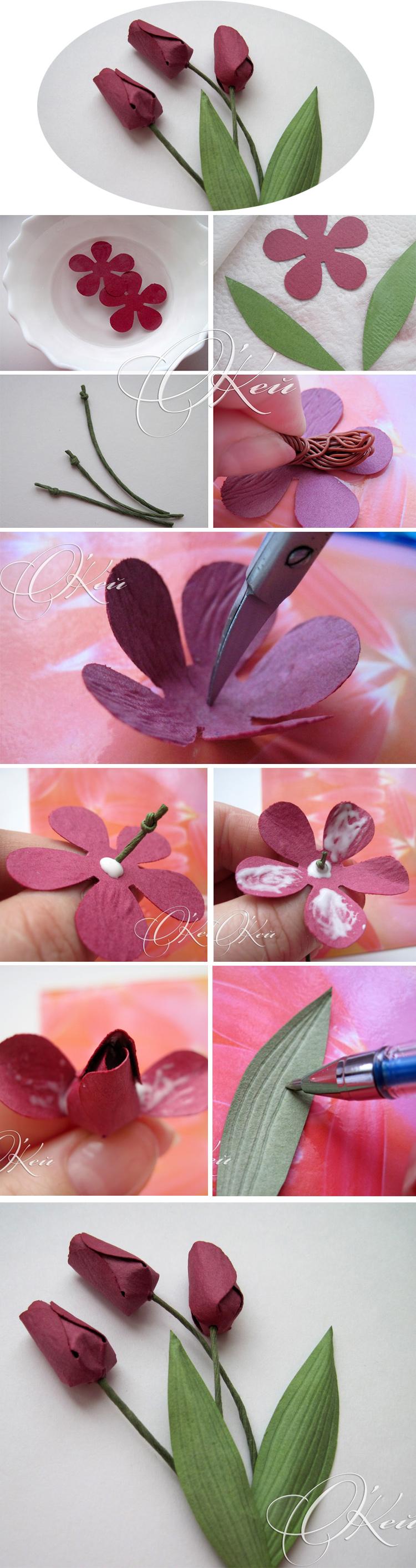 тюльпан пошагово из бумаги