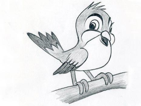 птичка карандашом