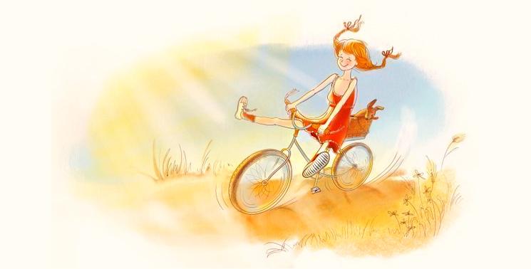 едет на велосипеде