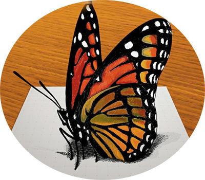 3д бабочка на бумаге