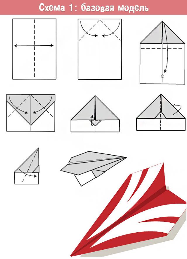 базовая модель бумажного самолетика