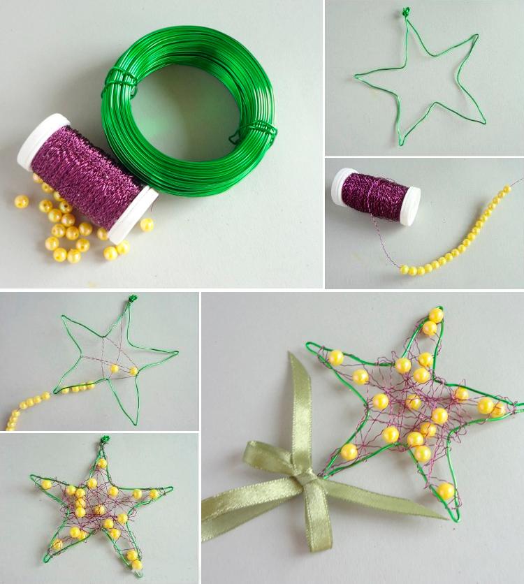 елочная игрушка звезда из проволоки и бусин пошагово