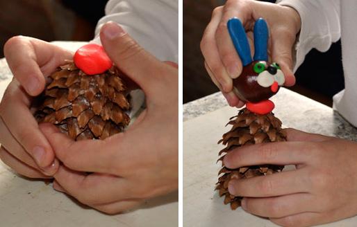 делаем зайца из каштана и пластилина