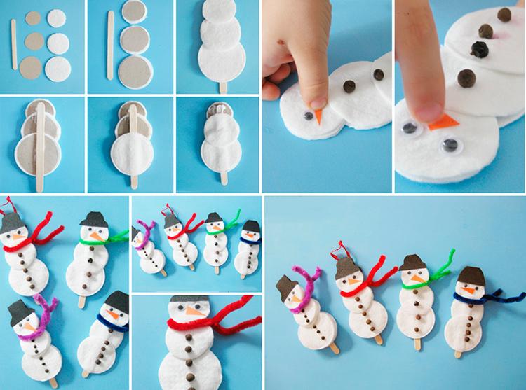 снеговики из ватных дисков и палочек от мороженого