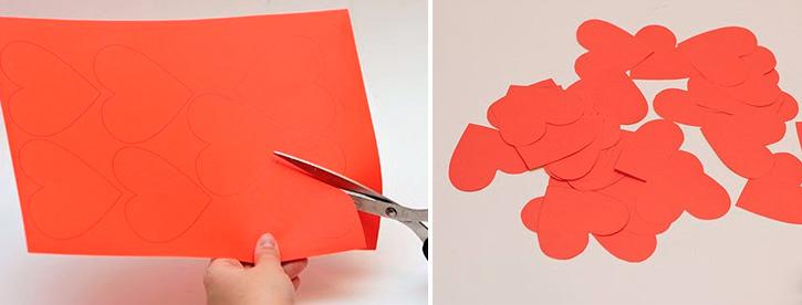 объемная гирлянда из прошитых сердечек из бумаги
