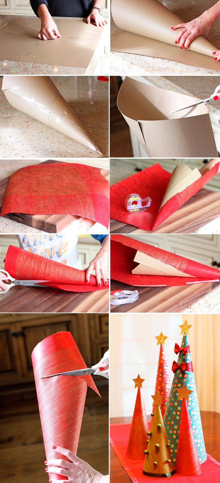 делаем елку из оберточной бумаги
